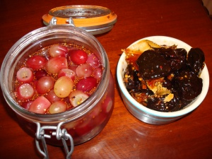 Pickled grapes and pickled prunes