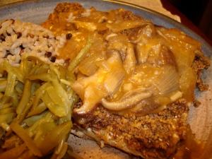 Blue Corn Crusted Tempeh with Shitake Mushroom Gravy