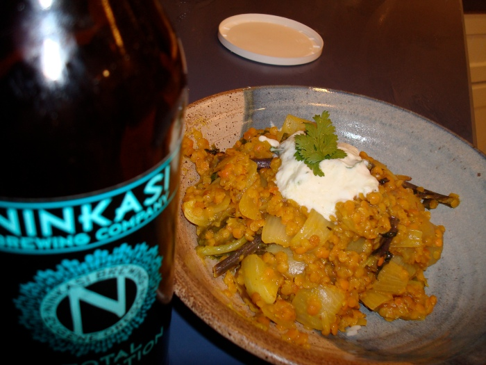 Really Lovely Red Lentils with Ninkasi Brewery (from Eugene) Domination IPA