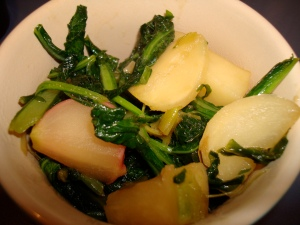 Maple-braised turnips with their greens
