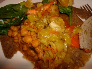 Ethipian cabbage and chickpeas on homemade injera bread