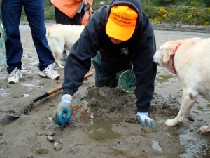 Bill Lackner, leading a clam clinic on Siletz Bay in Lincoln City Wednesday.