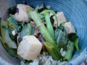Mustard Greens, Shitake, Snap Pea and Tofu Stir-Fry