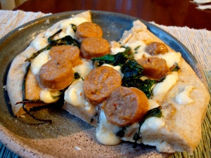 Dandelion Greens, Italian Sausage and Fontina Cheese Pizza