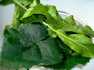 Use grape and/or horseradish leaves to keep the cukes crisp.