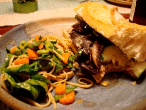 Bahn Mi with Mark Bittman's Soba Salad (go easy on the mirin in the dressing).