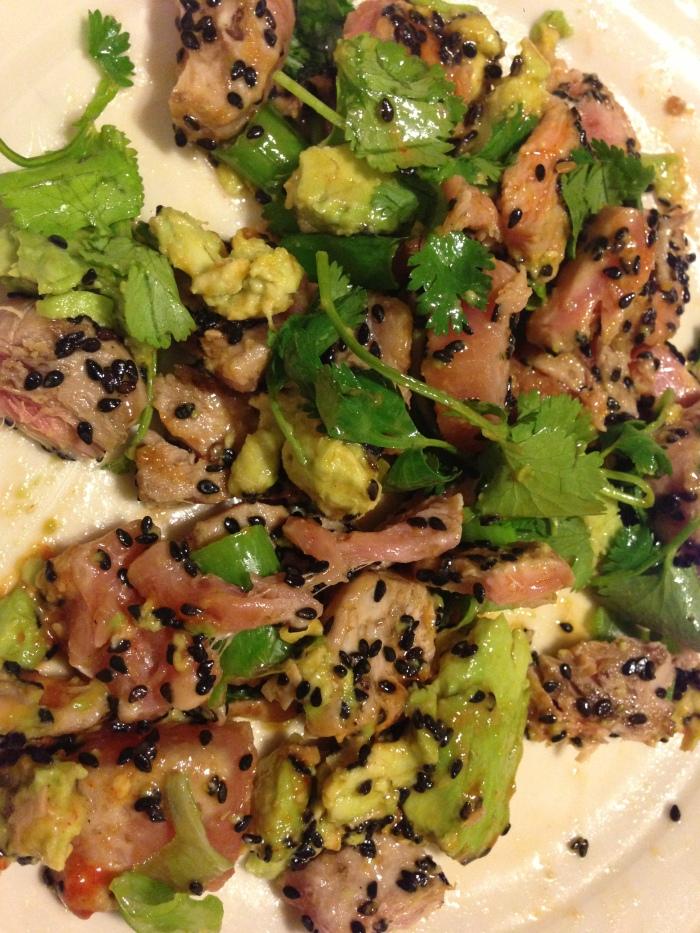 Justin's also had pretty local yellowtail tuna. I made a small sushi-grade piece into seared tataki, with avocado, cilantro, scallions and black sesame seeds.